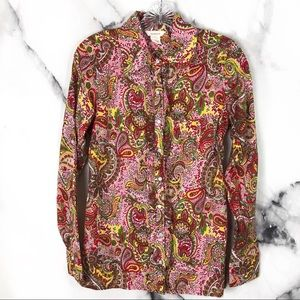 •Sundance• Pink Red Paisley Ruffle Button Down Top